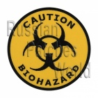 Biohazard caution embroidered patch