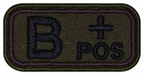 Blood Type Patch B (III) Rh+ pos embroidered velcro patch #1